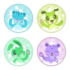Cute cartoon bathing animals.