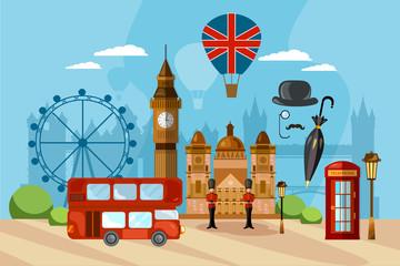 London City Skyline, London United Kingdom. London vector illustration. Travel and tourism background