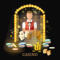 Welcome to the casino vector. Casino set, poker game playing cards slots.