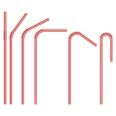 vector illustration of red colored disposable plastic drinking straw isolated on white background
