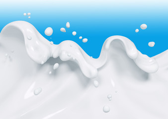 Splash milk 3d rendering