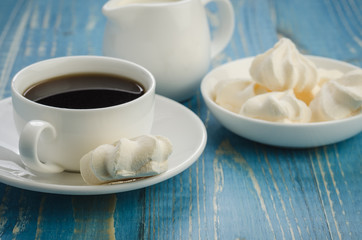 breakfast with a cup of coffee/breakfast with a cup of coffee on a blue table