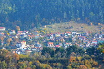 Autumn color in Brasov, Transylvania. Typical rural landscape in the forests of Transylvania, Romania