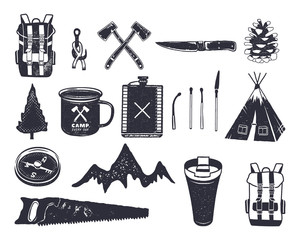 Vintage hand drawn adventure hiking, camping shapes of backpack, saw, mountain, matches, tree, knife, thermo cup and others. Retro monochrome design. Can be used for t shirts, prints. Stock