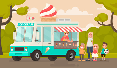 Children and an ice cream truck in the park. Vector illustration in a flat style
