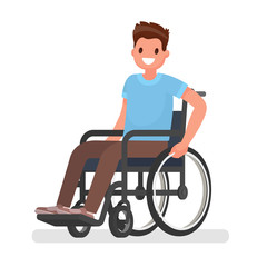 Man is sitting in a wheelchair on a white background. Vector illustration
