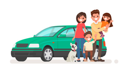 Happy family with a car on a white background. Vector illustration