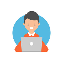 Vector illustration of a boy using a laptop