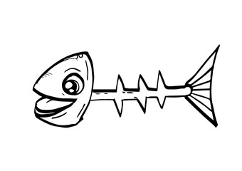 Fish bone sketch drawn with ink. Vector illustration