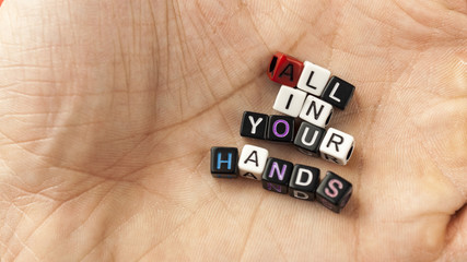 """Inscription from the letters in hand """"All  in your hands"""""""