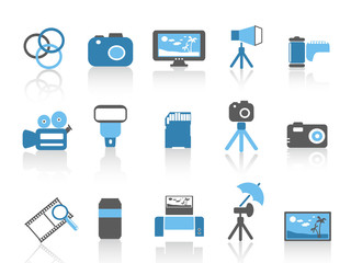 blue color photography element icons set