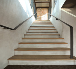 Wood stair in loft style
