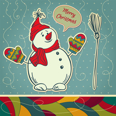 Vintage Christmas snowman. Winter  background