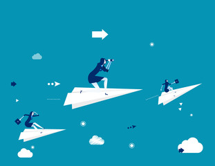 Business team flying on the paper plane and looking in the binoculars. Concept business vector illustration. Vector stock.
