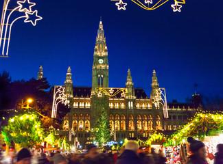 Aluminium Prints Vienna Christmas market in Vienna
