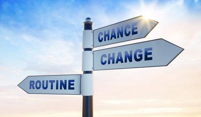 3 Wegweiser in Abendsonne - Change Chance Routine