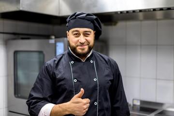 Chef in the kitchen.black uniform