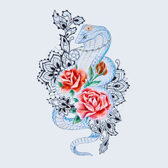 Sketch of snake cobra with red flowers on a white background.