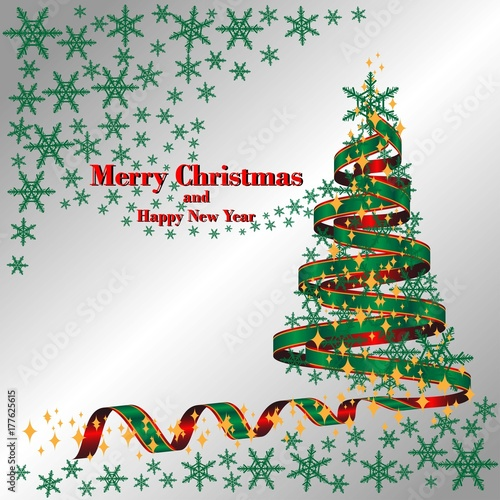 Merry christmas and happy new year with green ribbon tree stars and merry christmas and happy new year with green ribbon tree stars and snowflakes greeting m4hsunfo