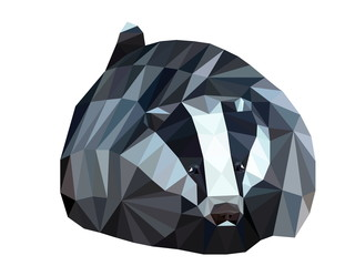 polygon picture figure of a seated badger
