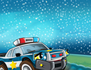 cartoon scene with police car looking at the stars illustration for children