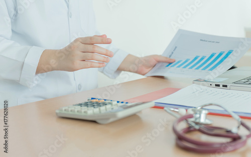 Health Care Costs Concept Picture Hand Of Female Doctor Used A