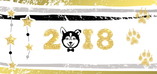 New Years Greeting Banner with Dog