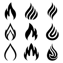 Set of fire. Nine flame. Icon illustration for design - vector