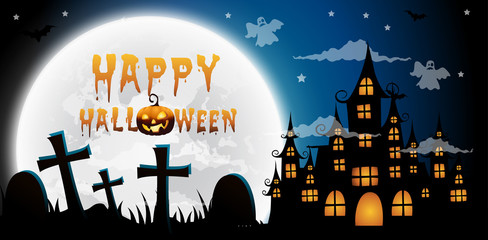 haunted house and full moon with ghost,Halloween night background.Vector illustration.