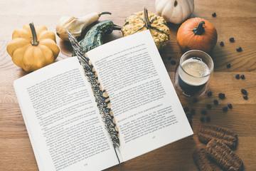 Pumpkins with book