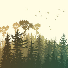 Square illustration of green forest mountains.
