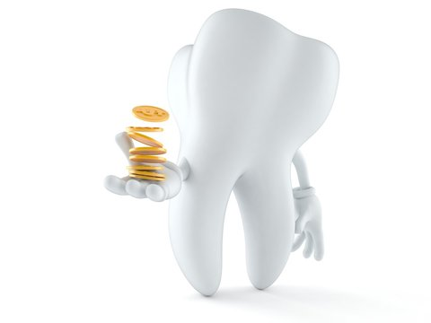 Tooth character with coins