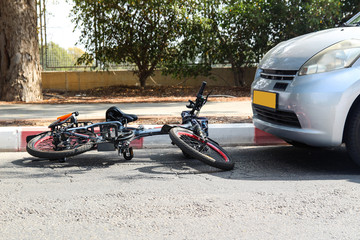 A traffic accident between electric e bike and car