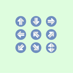 arrow blue set Icon on blue background. vector illustration. web. symbol