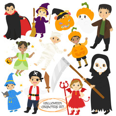 Halloween characters and items vector collection