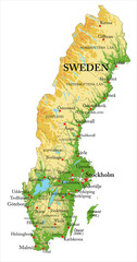 Sweden relief map