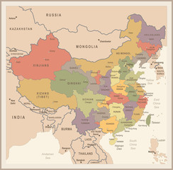 China Map - Vintage Vector Illustration