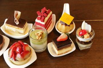 Delicious assorted mini dessert cocktai banquet