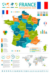 France - infographic map and flag - illustration