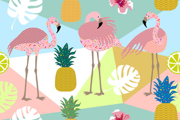 Dark tropical print. Seamless vector pattern with pink flamingos and golden pineapples.