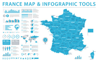 France Map - Info Graphic Vector Illustration Fotomurales