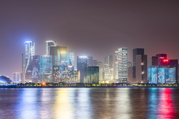 Nightscape of CBD architecture landscape in Hangzhou