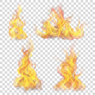 Set of fire flame on transparent background. For used on light backgrounds. Transparency only in vector format