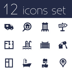 Set Of 12 Estate Icons Set.Collection Of Pool, Like, Pin And Other Elements.