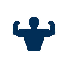 Isolated Bodybuilder Icon Symbol On Clean Background. Vector Muscular Element In Trendy Style.