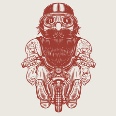 Funny biker caricature. Racer on little motorcycle.