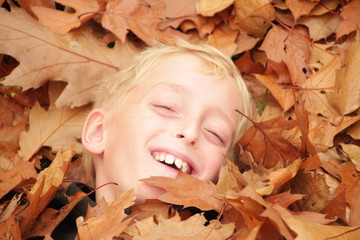 ttle boy is trowing leaves in the air during autumn