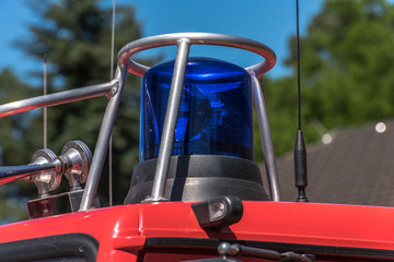 picture of blue lights and sirens on a fire-truck - close-up