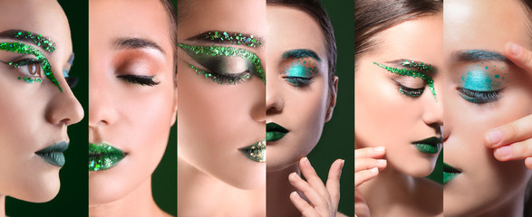 Collage of young beautiful woman with fancy green makeup