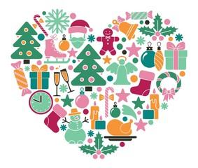 Christmas symbols in heart shape
